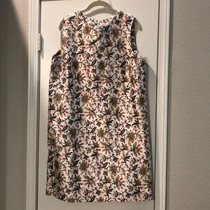 Tory Burch cream and floral silk shift dress
